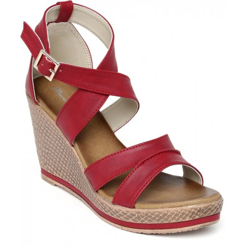 Bruno Manetti Red Solid Leather Wedges