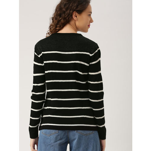 DressBerry Women Black & White Striped Pullover