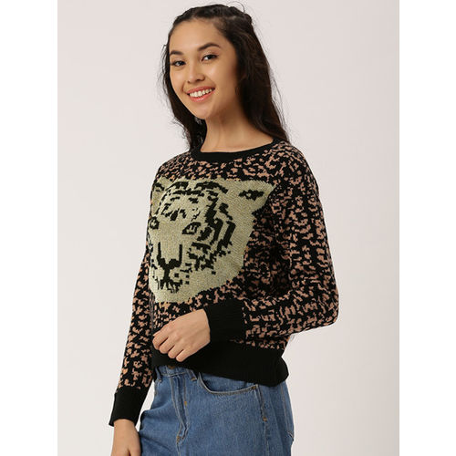 DressBerry Women Black & Peach-Coloured Self Design Pullover