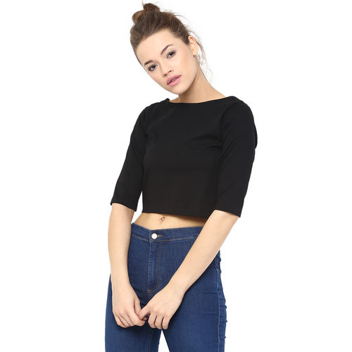 6e4b4b6da631d4 ... Miss Chase Women s Black Boat Neck Half Sleeves Crop Tops Plain ...