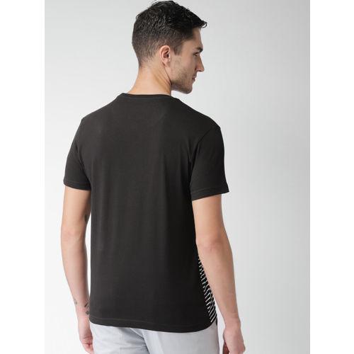INVICTUS Men Black Striped Round Neck T-shirt