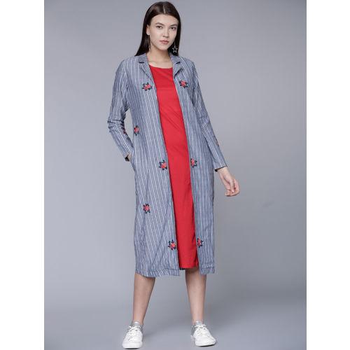 Buy Vishudh Women Navy Blue   Red Striped Layered A-Line Kurta ... 813ad6437