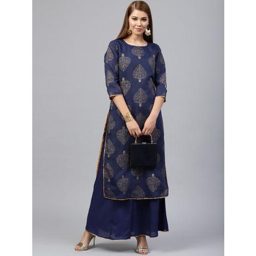 Juniper Women Navy Blue Printed Straight Kurta