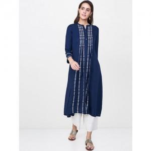 Global Desi Women Navy Blue Woven Design A-Line Kurta