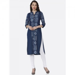 RAISIN Women Navy Blue & White Printed Straight Kurta