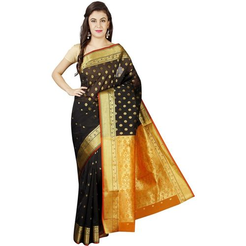 Pavechas Woven Banarasi Silk Cotton Blend Saree(Black, Gold)