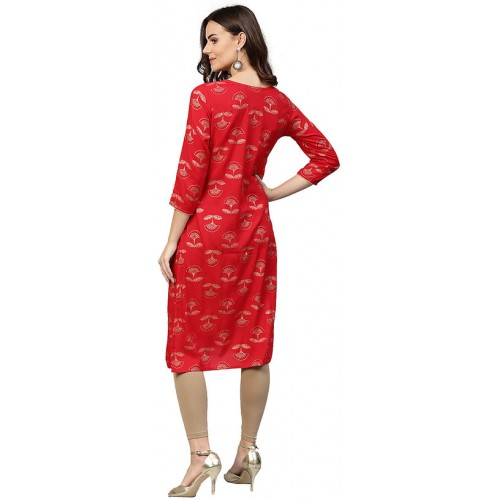 Jaipur Kurti Red Rayon Ethnic Straight Kurta