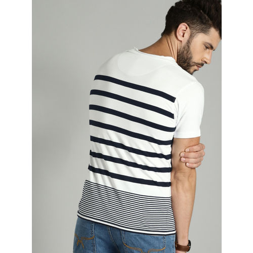 Roadster White Striped Round Neck T-Shirt