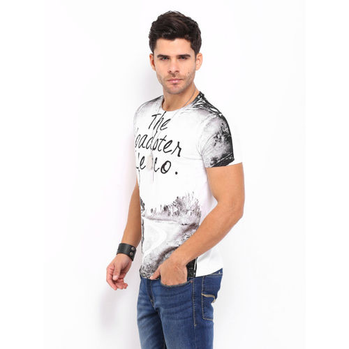 Roadster White Printed Round Neck T-Shirt