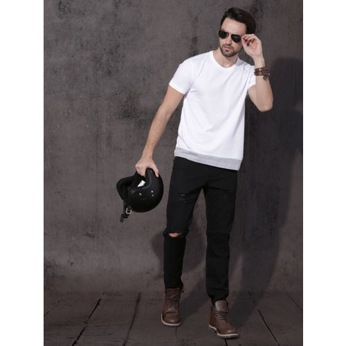 Roadster White Solid Round Neck T-Shirt