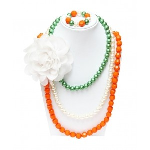 D'chica Orange White & Green Beaded Flower Necklace & Bracelet Set