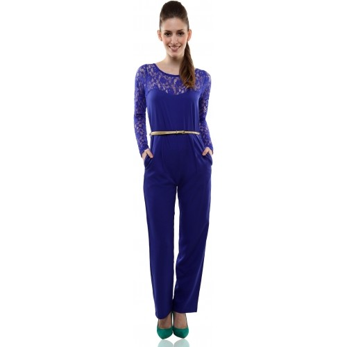 Miss Chase Blue Crepe & Lace Solid Women's Jumpsuit