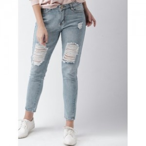 Mast & Harbour Blue Slim Fit Mid-Rise Highly Distressed Jeans
