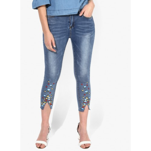 Blue Washed Mid Rise Skinny Fit Jeans