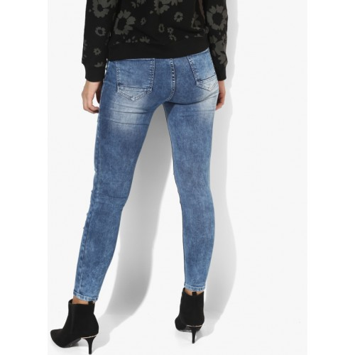 Blue Casual Mid Rise Regular Fit Jeans