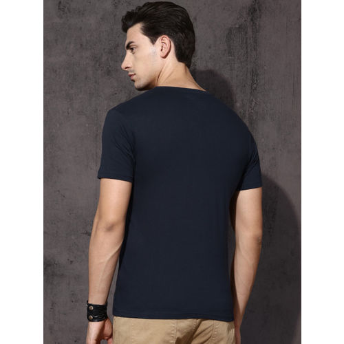Roadster Navy Blue Printed Round Neck T-Shirt