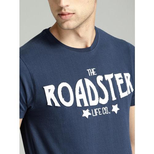 Roadster Men Navy Blue Solid Round Neck T-shirt