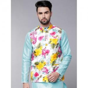 Svanik Men Multi Color Cotton Printed Slim Fit Nehru Jacket