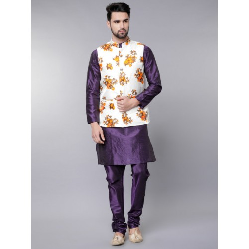 Svanik Men White & Yellow Printed Slim Fit Nehru Jacket
