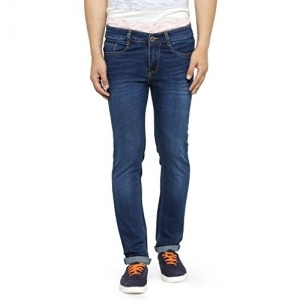 Ben Martin Blue Cotton Solid Regular Fit Denim Jeans