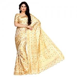 MIMOSA Beige Art Silk Golden Printed Festive Saree With Blouse Piece