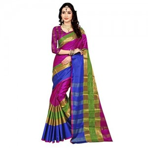SAREE MALL Blue Cotton Silk Festive Saree With Blouse Piece