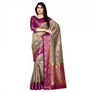 MIMOSA Blue&Purple Silk Floral Printed Saree With Blouse Piece