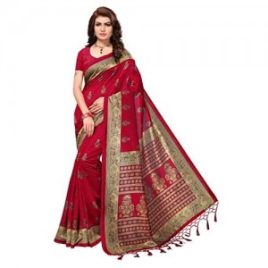 OOMPH! Red Silk Printed Tassled Casual Saree With Blouse Piece