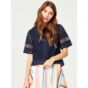 ESPRIT Women Navy Blue Embroidered Boxy Top