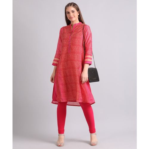 Biba Women's Printed Straight Kurta(Beige, Red, Pink)