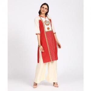 3024d830f88 Buy Aurelia Women s Printed Straight Kurta(Red) online