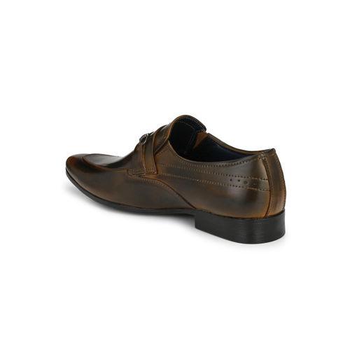 Guava Men Tan Brown Solid Formal Slip-Ons