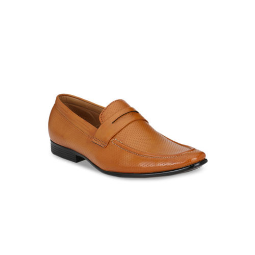 Guava Men Tan Brown Solid Formal Loafers