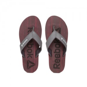 Reebok Men Grey & Maroon Willis Printed Thong Flip-Flops