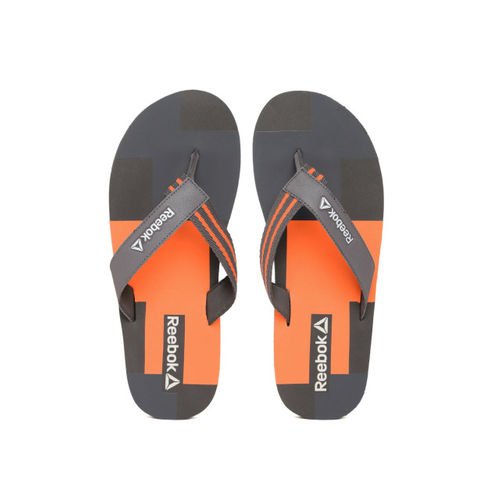 dffa81987 ... Reebok Men Charcoal Grey   Orange Genesis Colourblocked Thong Flip-Flops  ...