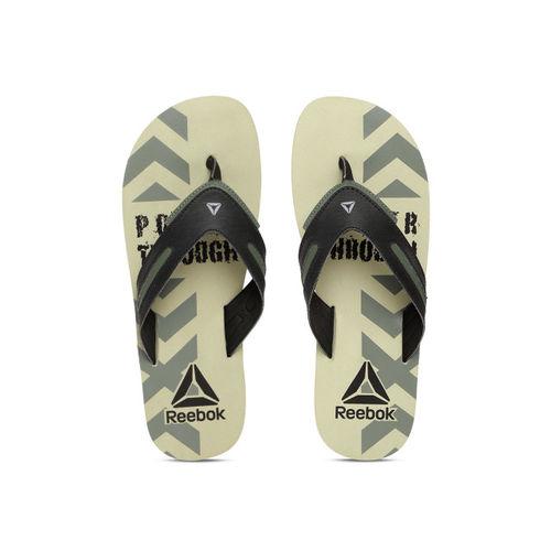 9ecfbb945142 Buy Reebok Men Black   Beige Bronn Printed Thong Flip-Flops online ...