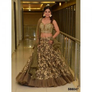 Wandar Beauty Black & Grey Embroidered Semi Stitched lehengas, lehenga choli