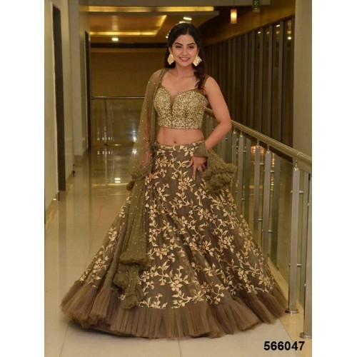 Wandar Beauty Green Embroidered multicolour Semi Stitched lehengas