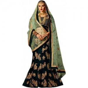 298467b8aa CLEZORA Green Embroidered Semi Stitched Lehenga, Choli and Dupatta Set