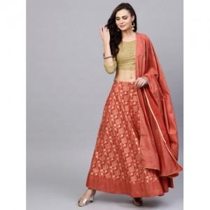 8a06589f0a AKS Rust Red & Green Khari Print Ready to Wear Lehenga & Choli with Dupatta