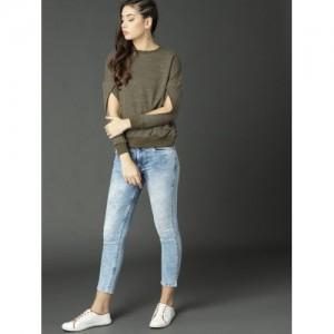 Roadster Olive Green Cotton Long Sleeves Solid Sweatshirt