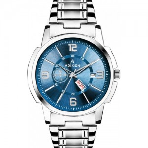 ADIXION Blue & Silver Stainless Steel Analog Watch