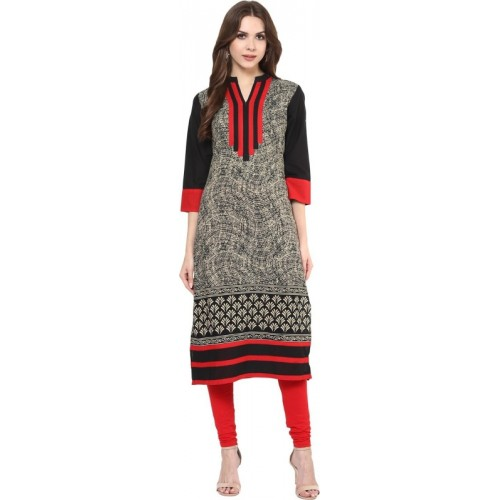 e593662a8e3f Buy FabTag - Krapal Black   Red Cotton Casual Printed Women s Kurti online