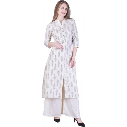Indiwest Grey Block Printed Cotton Frontslit Kurta