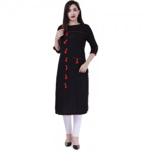 HOLLYBLUE Black Cotton Solid Straight Kurta