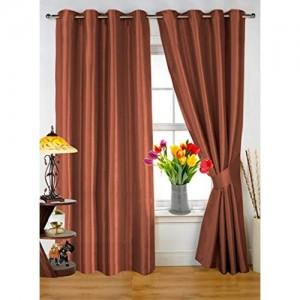 Dekor World Plain Brown Eyelet Door Curtain Combo.-Pack of 2 Pcs