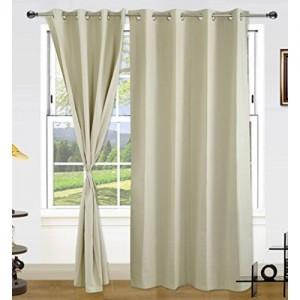 Dekor World Silver Cotton Curtain Set (Pack of 2)