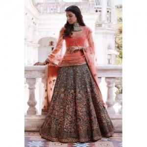 Generic semi Stitched Malbari Silk Designer Lehenga with Heavy Embroidery work, Malbari silk Blouse Piece and Bridel net Dupatta