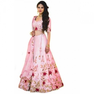 SHREEJI ENTERPRISE Pink Embroidered Semi Stitched Lehenga Choli