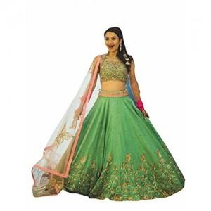 Florence Women's Green Bangalore Silk Heavy Lehenga Choli